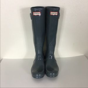 Hunter Grey Gloss Boots Tall Rain Boots